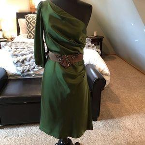 BCBG Max Azria Silk One-Shoulder dress
